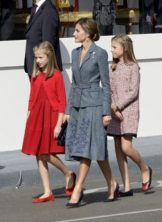 Princess Leonor of Spain, Queen Letizia of Spain and Princess Sofia of Spain attend the National Day Military Parade on October 12, 2017 in Madrid, Spain.