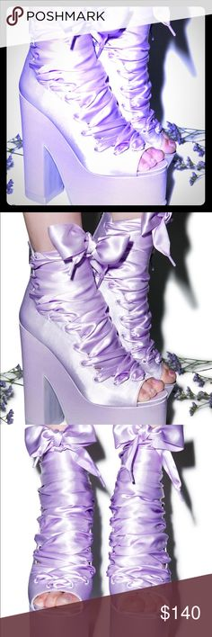 YRU Ballet bae's YRU SOLD OUT purple satin Ballet baes, size 6, authentic, brand new in box YRU Shoes Platforms
