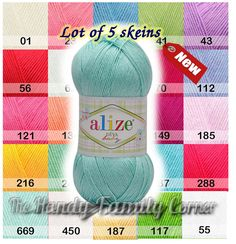 Alize Diva Baby yarn, Lot of 5 skeins. Hypoallergenic. Microfiber. Light, silky, spring summer yarn, fingering. Colour choice. Wholesale DSH by HandyFamily on Etsy