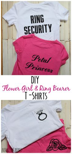 Learn how to make these DIY flower girl and ring bearer t-shirts for the littlest ones in the wedding party. party night DIY Flower Girl and Ring Bearer T-Shirts Wedding Party Shirts, Gifts For Wedding Party, Party Gifts, Bridal Parties, Diy Party, Ideas Party, Gift Ideas, Bridal Party Shirts, Party Plan
