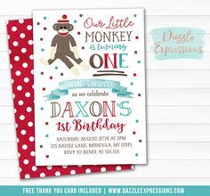 Printable Sock Monkey Watercolor Birthday Invitation | Boy or Girl 1st Birthday Party | Swing on Over | Little Monkey Invite | Red, Teal Blue and Brown Design | Thank You Card | Banner | Cupcake Toppers | Favor Tag | Food Labels | Photo Props | Signs | DIY Party Package Decor