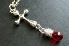 Christian Jewelry. Teardrop Pendant Necklace. Red Necklace. Silver Cross Necklace. Handmade Jewelry.