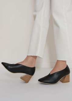 Black Stacked Heel Shoes – The Frankie Shop