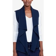 Lauren Ralph Lauren Quilted Open-Front Vest ($93) ❤ liked on Polyvore featuring outerwear, vests, navy, navy vest, draped vest, navy blue quilted vest, jacquard vest and blue waistcoat