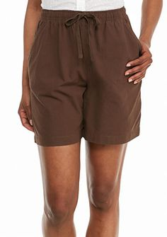 Kim Rogers® Solid Pull-On Drawstring Woven Shorts