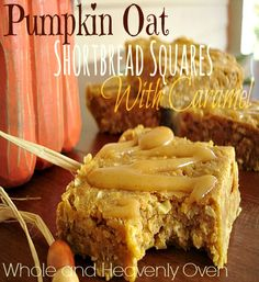 Pumpkin Oat Shortbread Squares With Caramel---Soft and chewy shortbread loaded with moist pumpkin and tender oats, and generously drizzled with a homemade caramel sauce!