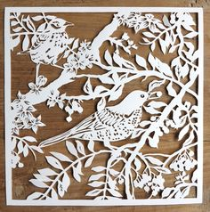 Papercutting – Handcut paper cut art – Bird papercut – Original handmade papercut of birds in branches unframed Papercutting – Handcut papier coupe art – oiseaux papercut – Original fait main papercut d Paper Cutting, Papercut Art, Paper Cut Design, Bird Patterns, Lace Patterns, Diorama, Stencils, Diy And Crafts, Projects To Try