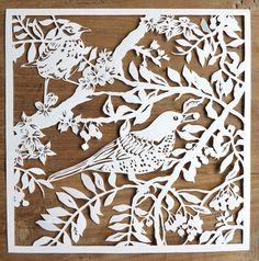 Original handmade papercut of birds in branches unframed. €63.00, via Etsy.
