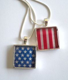 American Flag Pendant Necklace Duo by TwoReasons