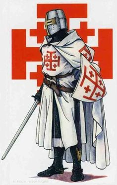 Knight bearing the Jerusalem Cross