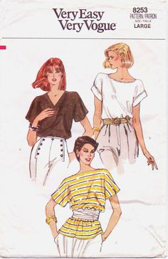 80s Very Easy Very Vogue Pattern 8253 Womens by CloesCloset, $9.00