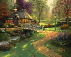 """Are you a Fan of Thomas Kinkade? You'll LOVE the large selection of Thomas Kinkade Cottage Puzzles. These jigsaw puzzles for adults are inspired by the artwork of """"The Painter of Light"""" Thomas Kinkade. Forest Cottage, Cottage Art, Fairytale Cottage, Thomas Kinkade Art, Kinkade Paintings, Oil Paintings, Ocean Paintings, Landscape Paintings, Thomas Kincaid"""