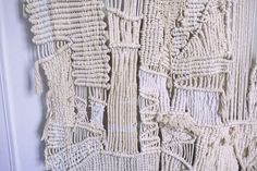 ABSTRACT MODERN WEAVING AND MACRAME TEXTILE WALL HANGING DETAIL IMAGE OF LARGE SCALE DESIGN MADE FROM  THOUSANDS OF KNOTS AND WEAVES. A CONTEMPORARY WALL HANGING RICH WITH TEXTURE, TONE AND INTEREST. FOR PRICING PLEASE CLICK HERE ,  ORDERS AND INQUIRES PLEASE USE THE CONTACT FORM