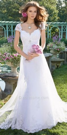 Beaded Lace Cap Sleeve Trump Skirt with  Tulle Overlay Wedding Dresses by Camille La Vie-image