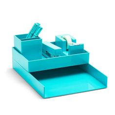 Aqua Poppin All Set 12-Piece Desk Collection Organizer Stationery Office Style  #poppin