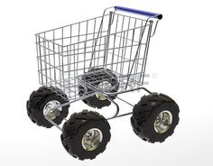 Shopping Cart with big off road tires isolated in white background  Stock Photo