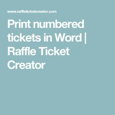 print numbered tickets