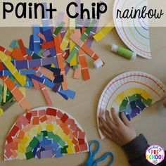 St. Patrick's Day paint chip rainbow craft FREE ten frame shamrock cards for preschool, pre-k, and kindergarten. A fun way to learn colors and build fine motor strength.