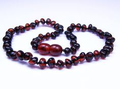 Dark CHERRY rounded beads amber teething necklace by Amberforsale, $21.99