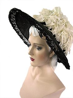 Huge Classy 60s Widebrim Hat Black Straw with by bonitalouise, $115.00