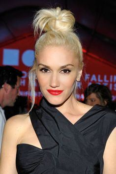 A high topknot, a la Gwen Stefani, looks best when slightly undone