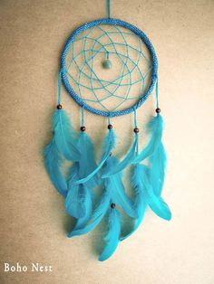 Dream Catcher - Spring Spirit - With Green Gemstone and Pure Turquoise Green Feathers - Boho Home Decor, Nursery Mobile
