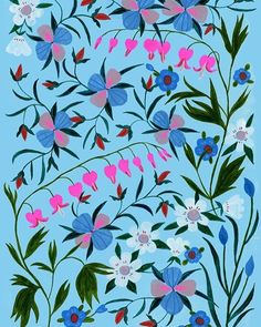 Bleeding Heart flowers by Tara Lilly Pretty Patterns, Flower Patterns, Textiles, Bleeding Heart Flower, Gouache Painting, Naive Art, Surface Pattern Design, Beautiful Artwork, Background Patterns