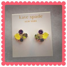 KATE SPADE New York Cluster Earrings These are so beautiful! Citrus colored clustered stones, 5/8in in diameter, they are post backs, epoxy & 12k gold plated. kate spade Jewelry Earrings