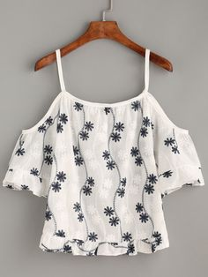 White Flower Embroidered Cold Shoulder Blouse