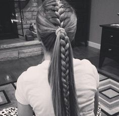 16 Braided Ponytails Every Cool Girl Will Be Wearing This Summer is part of braids - Prepare for fireworks Thanks to sultry braids, twists, and knots, these sizzling summer styles aren't your average ponytail Athletic Hairstyles, Sporty Hairstyles, Hairstyles For School, Prom Hairstyles, Ponytail Hairstyles With Braids, French Braided Hairstyles, Cute Cheer Hairstyles, Hairstyles Videos, Homecoming Hairstyles