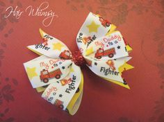 Firefighter Hair Bow  My Daddy is a Fire Fighter by HairWhimsy1, $5.00