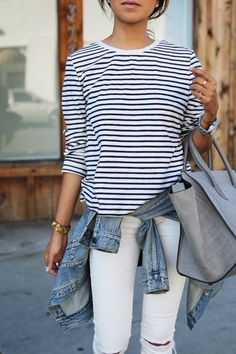This combo of a light blue denim jacket and white ripped slim jeans is a safe bet for an effortlessly cool look. : This combo of a light blue denim jacket and white ripped slim jeans is a safe bet for an effortlessly cool look. Spring Summer Fashion, Spring Outfits, Autumn Fashion, Spring Style, Spring 2015, Looks Street Style, Looks Style, Mode Outfits, Casual Outfits