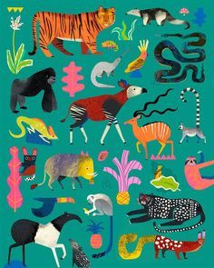 A selection of work by illustrator Natasha Durley. More images below. Natasha Durley's Website Illustration Jungle, Pattern Illustration, Animal Illustrations, Fantasy Illustration, Jungle Print, Arte Popular, Art Graphique, Photo Projects, Stuffed Animal Patterns