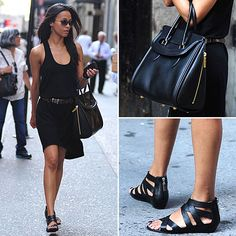 Simple dress with a great bag and shoes!