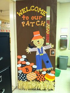 """""""Welcome to Our Patch"""" - Write your students' names on the pumpkins and design a large scarecrow for this fall classroom door display idea."""