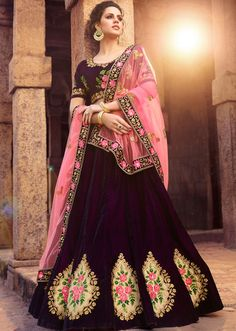 An outstanding purple velvet lehenga choli will make you look extremely stylish and graceful. Look ravishing clad with this attire that's enhanced embroidered, patch border and resham work. Simple Lehenga Choli, Lehenga Choli Online, Bridal Lehenga Choli, Wedding Lehnga, Silk Lehenga, Pakistani Bridal, Indian Bridal, Wedding Dresses, Choli Designs