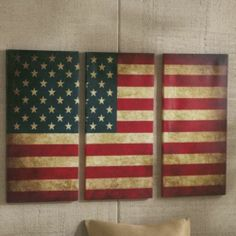 AMERICAN FLAG WALL ART 3 PIECE