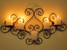 Wrought Iron Candle Sconce Holder Wall Decor B Wrought Iron Candle Holders, Wall Candle Holders, Candle Wall Sconces, Wireless Wall Sconce, Farmhouse Wall Sconces, Wrought Iron Wall Decor, Empty Wall, French Style, Lantern
