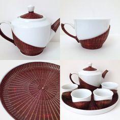 Bamboo filaments woven over tea set (Chinese Art) Chinese China, China Art, Xmas Gifts, Tea Set, Bamboo, Porcelain, Tableware, Shop, Handmade