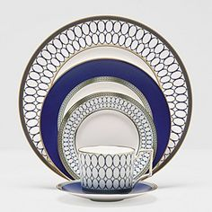 """Wedgewood """"Renaissance Gold"""" Dinnerware at Bloomingdale's. I love the royal blue and geometric pattern. So classy!"""