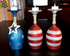 The Keeper of the Cheerios: Patriotic Wine Glasses Candle Holders Wine Craft, Glass Bottle Crafts, Bottle Art, Diy Wine Glasses, Painted Wine Glasses, Wine Glass Candle Holder, Wine Candles, Glass Votive, July Crafts