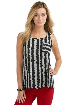 b41f17e3666a4 Cato Fashions Sheer Striped Pocket Tank  CatoFashions  CatoSummerStyle Plus  Size Tops