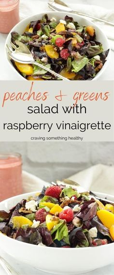 This delicious salad tastes like summer all year long when you use canned peaches. #summersalad #salads #cannedpeaches #peaches #raspberryvinaigrette #easysalads #fruitsalads #healthysalads #easyrecipes