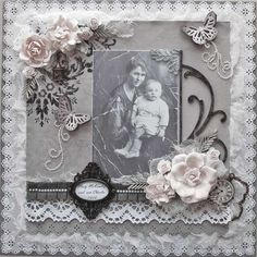 Looking Through the Cracks of Time ~ lovely and lavishly embellished monochromatic heritage page.