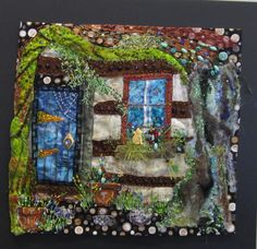 silk paint, collage, quilting, embroidery and beading.