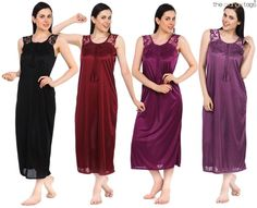 LADIES SATIN LACE LONG NIGHTDRESS CHEMISE NIGHTY LACE DETAIL SIZE 8-14 ON CLEARA