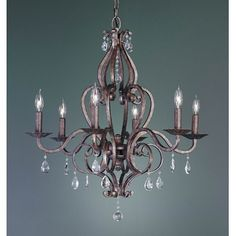 Murray Feiss Mademoiselle Six Light Single Tier Chandelier in Peruvian Bronze