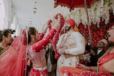 Pin Down These Trendy And Unique Varmala Exchange Ideas For Couples. For more such wedding inspiration, stay tuned with shaadiwish. Red Lehenga, Only Online, Celebrity Pictures, Different, Bridal Makeup, Wedding Pictures, Real Weddings, Wedding Planner, Wedding Inspiration