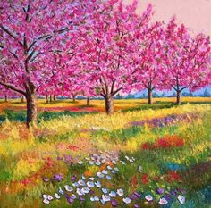 High quality Oil painting Canvas Reproductions Peach trees in spring By Jean Marc Janiaczyk hand painted Simple Oil Painting, Oil Painting Tips, Oil Painting Flowers, Painting Canvas, Painting Wallpaper, Wallpaper Desktop, Painting Techniques, Landscape Art, Landscape Paintings