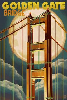Golden Gate Bridge & Moon - San Francisco, CA - Lantern Press Poster